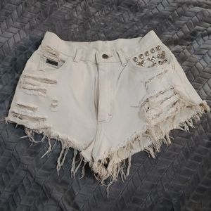 Lee distressed ripped studded shorts high-waisted